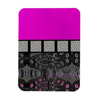 Pink Grunge Sassy Lips Metal Rectangular Photo Magnet