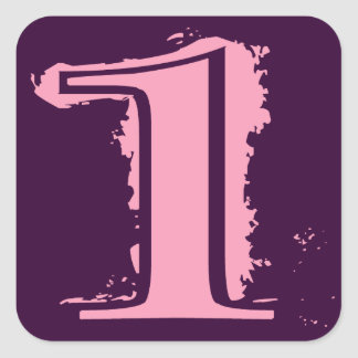 Pink Grunge Style Number 1 Square Sticker
