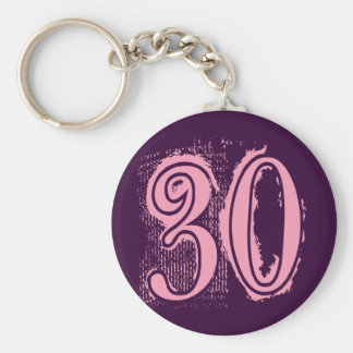 Pink Grunge Style Number 30 Basic Round Button Key Ring