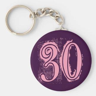 Pink Grunge Style Number 30 Key Ring