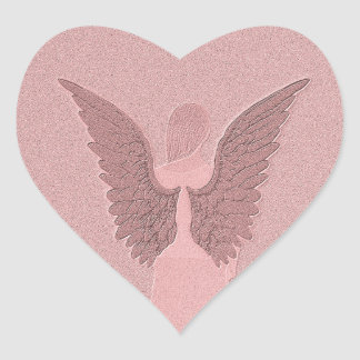 Pink Guardian Angel Heart Sticker
