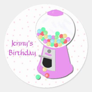 Pink Gumball Machine Party Sticker