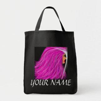 Pink hair lady tote