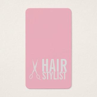 Pink Hair Stylist - Light Grey Scissors Business Card
