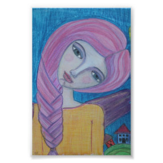 Pink Haired Angel 4x6 print Photo