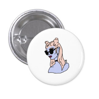Pink Haired Girl Round Button