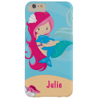 Pink Haired Mermaid With Porpoise Barely There iPhone 6 Plus Case