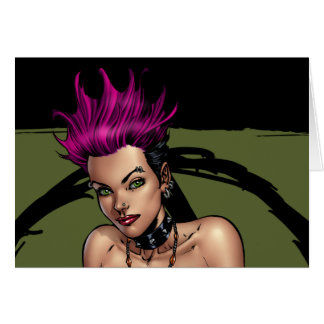 Pink Haired Punk Rock Alternative Girl by Al Rio Greeting Card