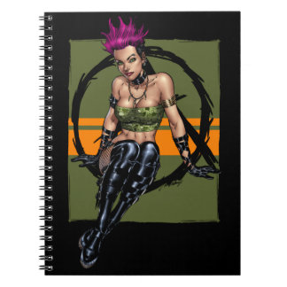 Pink Haired Punk Rock Alternative Girl by Al Rio Note Books