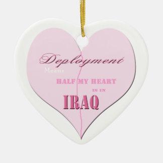 Pink Half Heart Deployment Iraq Ornament