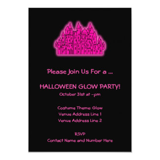 Pink Halloween Glow Party Card