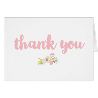 Pink Hand Drawn Floral Bouquet Thank You Card