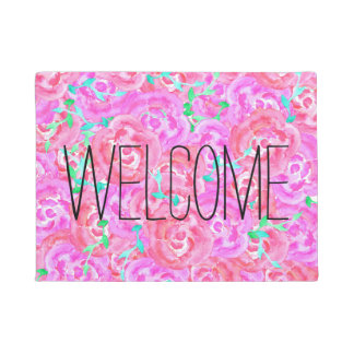 Pink hand painted floral watercolor roses doormat