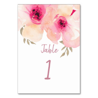 Pink Hand Painted Watercolor Peony Table Number