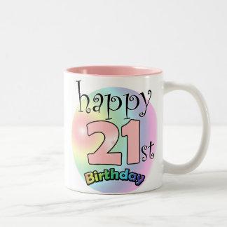Pink Happy 21st Birthday Two-Tone Coffee Mug