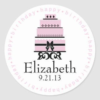 Pink Happy Birthday Cake Classic Round Sticker