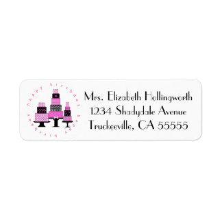 Pink Happy Birthday Cakes- Return Address Label