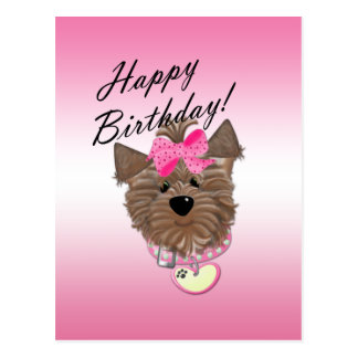 Pink Happy Birthday Dog Postcard