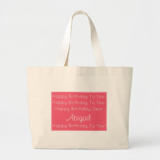 Pink Happy Birthday Song Personalized Large Tote Bag