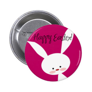 Pink Happy Easter Bunny Pinback Buttons