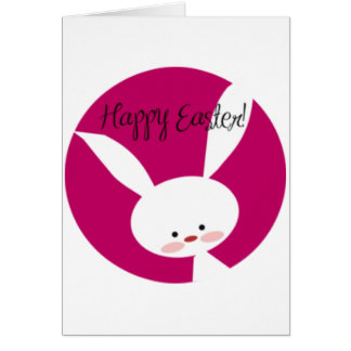 Pink Happy Easter Bunny Greeting Card
