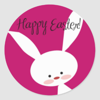 Pink Happy Easter Bunny Round Sticker