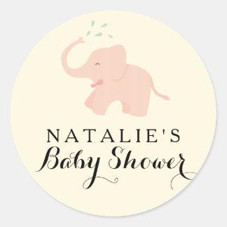 Pink Happy Elephant   Baby Shower Sticker