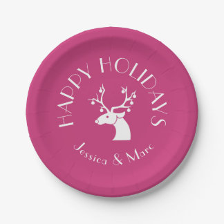 Pink HAPPY HOLIDAYS Christmas Reindeer Name Paper Plate
