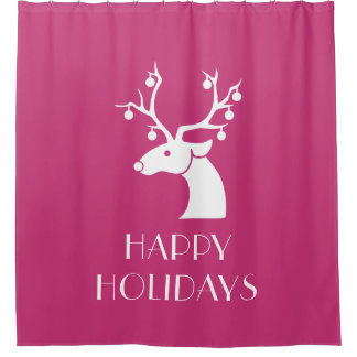 Pink HAPPY HOLIDAYS Christmas Reindeer Shower Curtain