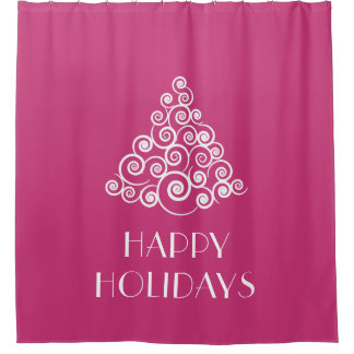 Pink HAPPY HOLIDAYS Christmas Tree Shower Curtain