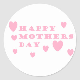 Pink Happy Mothers Day Round Sticker