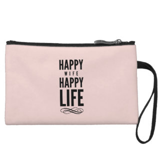Pink Happy Wife Happy Life Saying Wristlet Purses