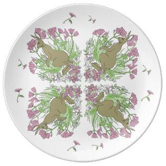 Pink Hare Porcelein Plate