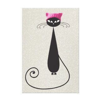 Pink Hat Kitty Cat Canvas Print