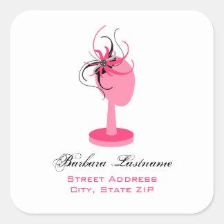 Pink Hat Stand & Fascinator Address Sticker