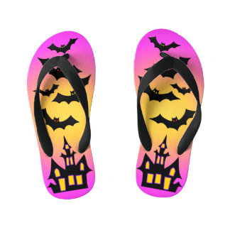 Pink Haunted House and Bats Kid's Thongs