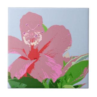 Pink Hawaiian Hibiscus Flower on Blue Ceramic Tile