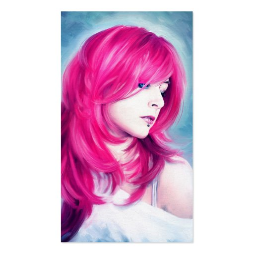 Pink Head sensual lady oil portrait painting art Business Card Template