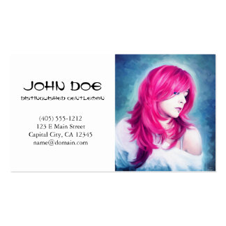 Pink Head sensual lady oil portrait painting Business Card Templates