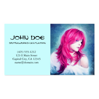 Pink Head sensual lady oil portrait painting Pack Of Standard Business Cards