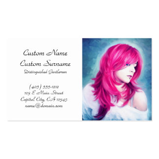 Pink Head sensual lady oil portrait painting pearl Pack Of Standard Business Cards