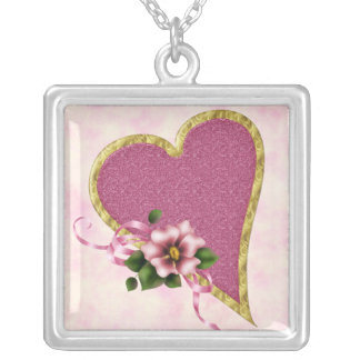 Pink Heart and Flowers Square Pendant Necklace
