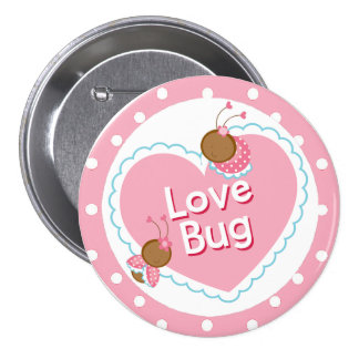 Pink Heart and Love BugsValentine 7.5 Cm Round Badge