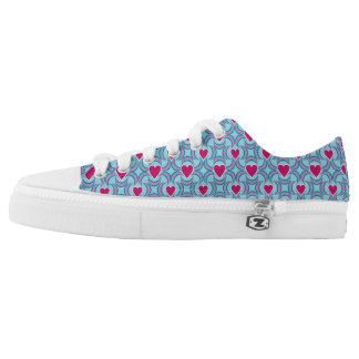 Pink Heart and Moon Womens Sneakers