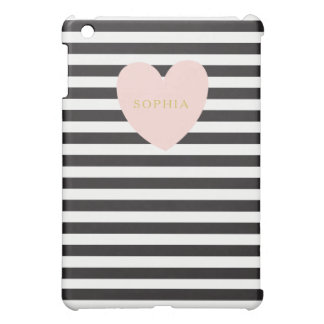 Pink Heart and Stripes iPad Mini Case Personalized