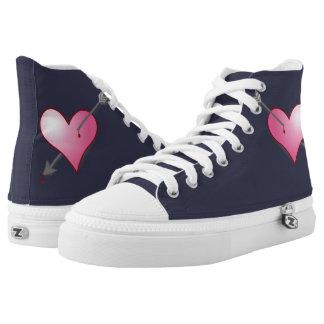 Pink Heart Arrow Zipz HighTop Shoes,Mid Night Blue High Tops