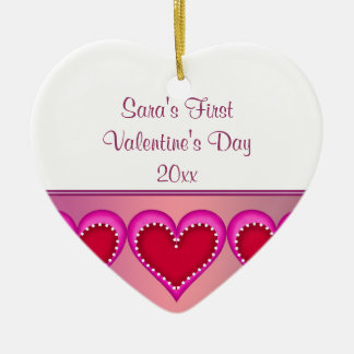 Pink Heart Baby Photo First Valentines Day Ceramic Heart Decoration