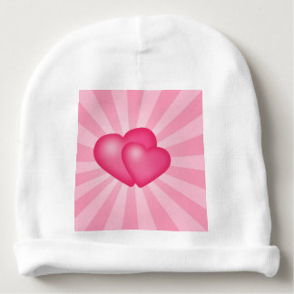 Pink Heart Background Baby Beanie