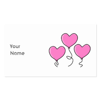 Pink Heart Balloon with Black Outline. Pack Of Standard Business Cards