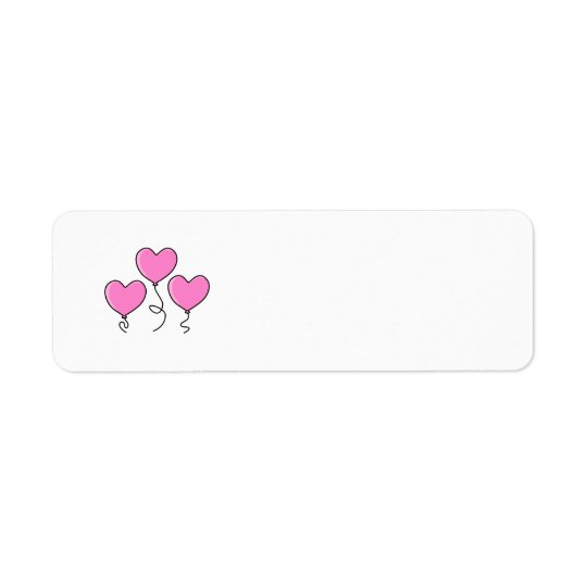 Pink Heart Balloon with Black Outline. Return Address Label